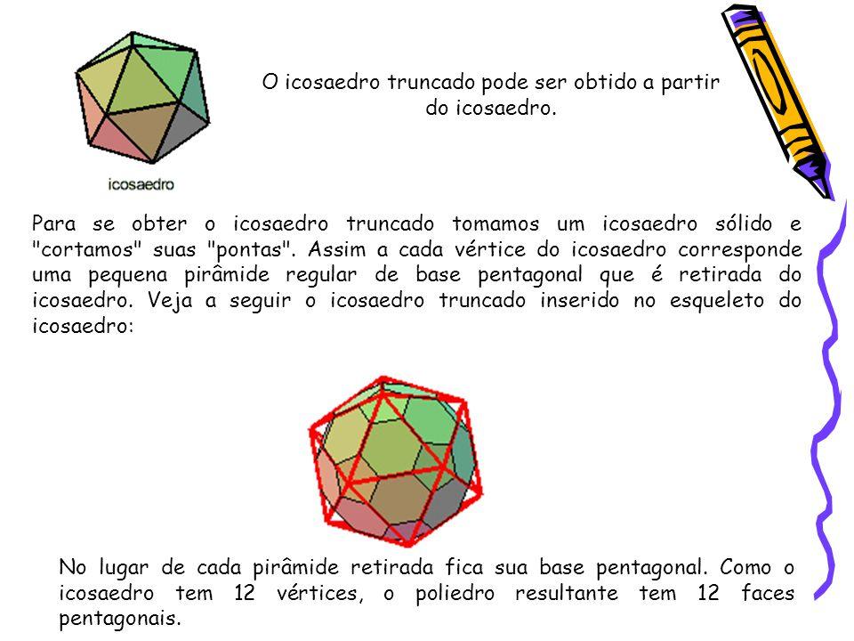O icosaedro truncado pode ser obtido a partir do icosaedro.