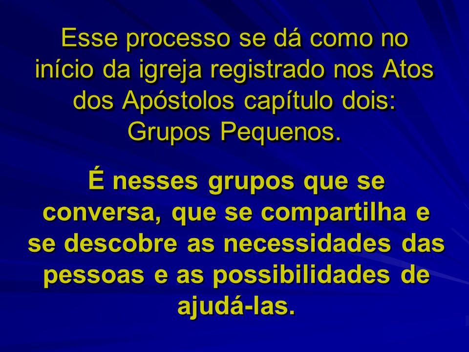 Esse processo se dá como no início da igreja registrado nos Atos dos Apóstolos capítulo dois: Grupos Pequenos.