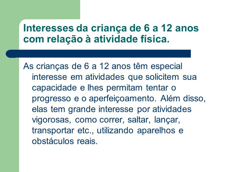 Interesses da criança de 6 a 12 anos com relação à atividade física.