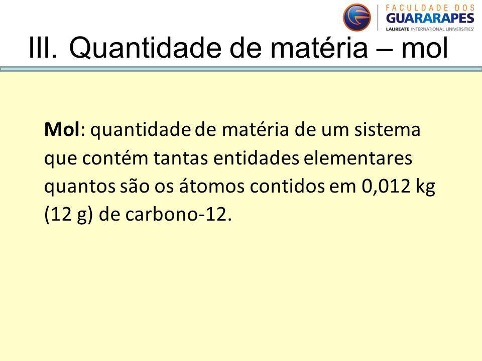 III. Quantidade de matéria – mol