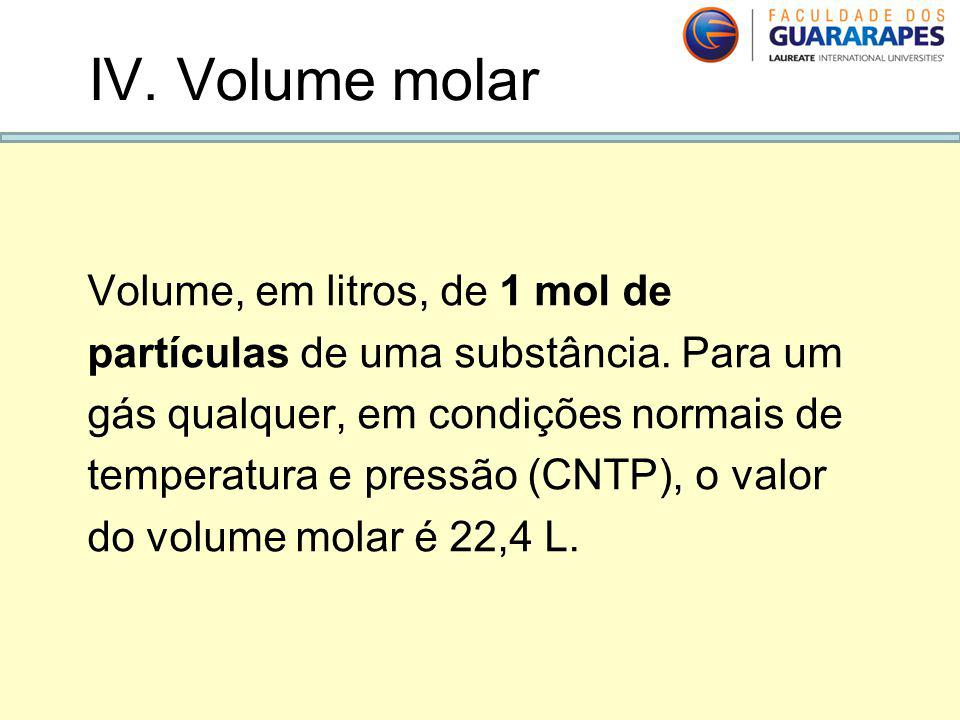 IV. Volume molar