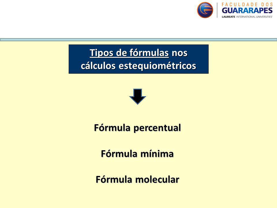 Tipos de fórmulas nos cálculos estequiométricos