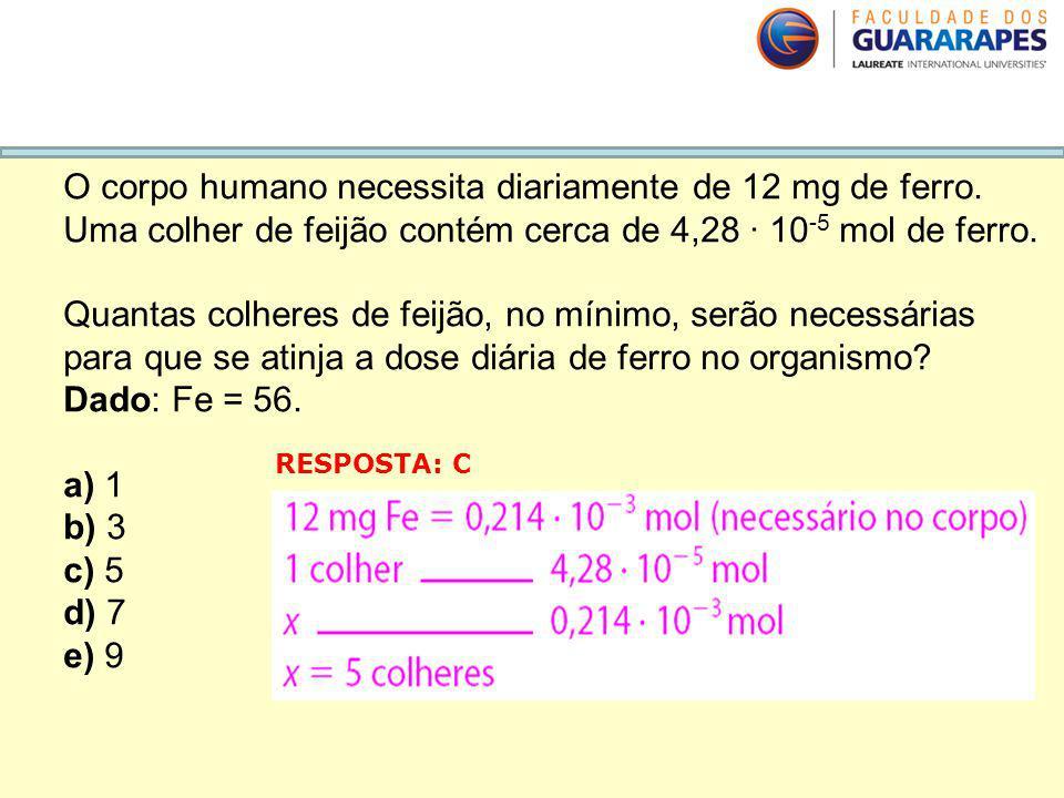 O corpo humano necessita diariamente de 12 mg de ferro