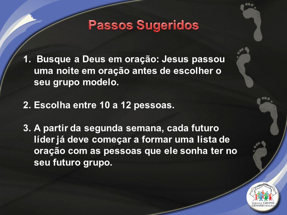 Passos Sugeridos Busque a Deus em oração: Jesus passou uma noite em oração antes de escolher o seu grupo modelo.
