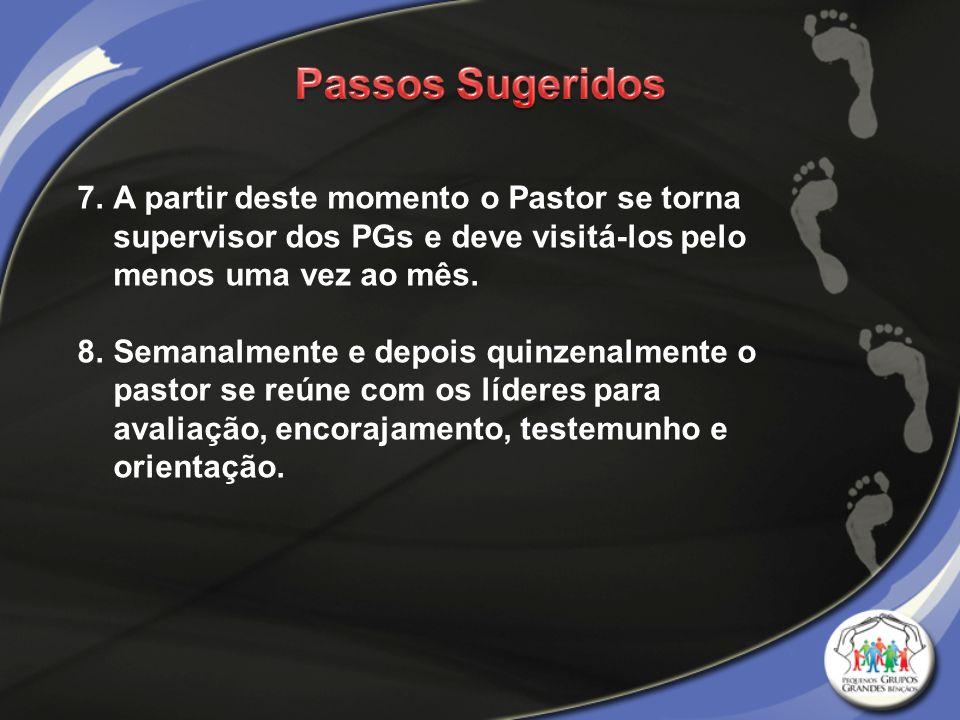 Passos Sugeridos A partir deste momento o Pastor se torna supervisor dos PGs e deve visitá-los pelo menos uma vez ao mês.