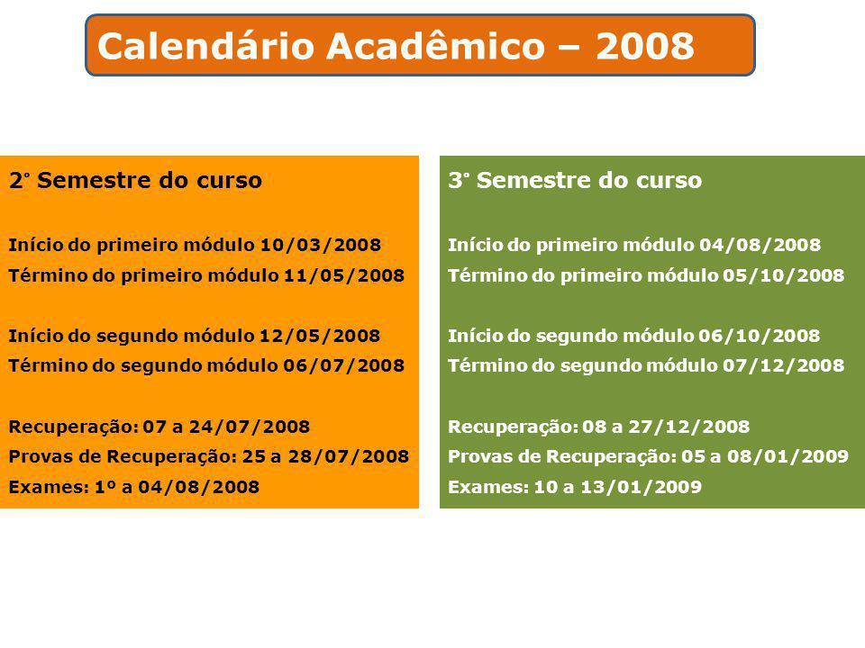 Calendário Acadêmico – 2008
