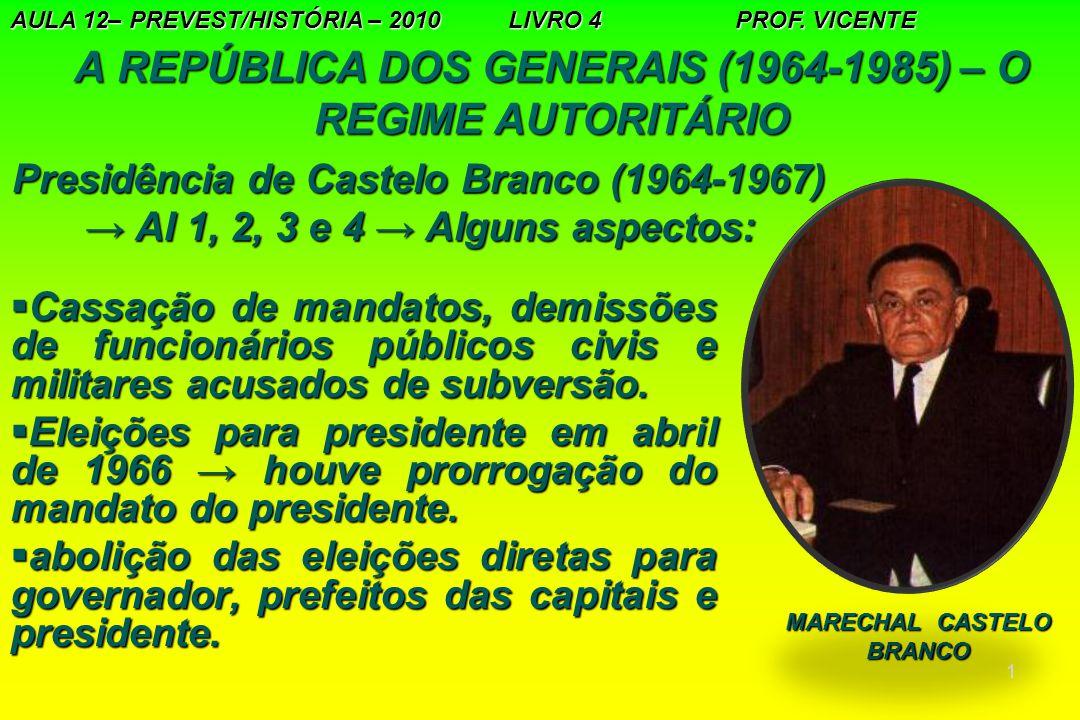 A REPÚBLICA DOS GENERAIS (1964-1985) – O REGIME AUTORITÁRIO