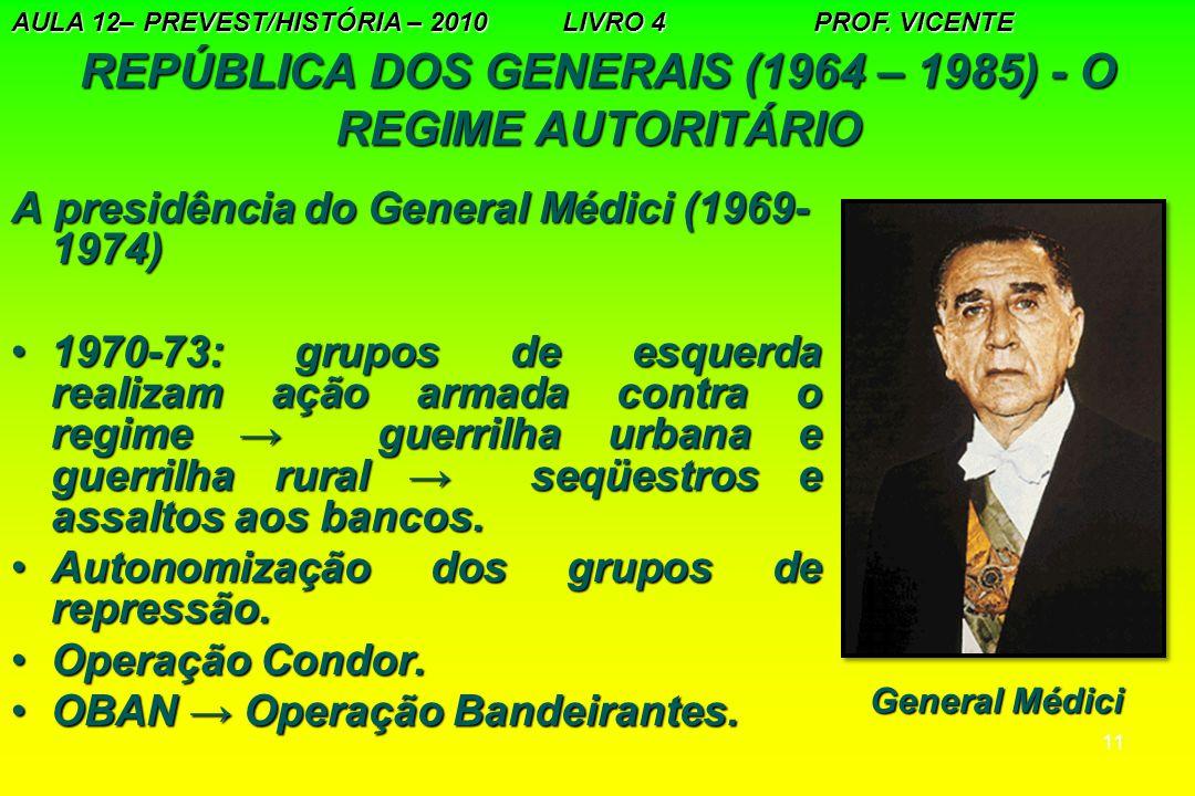 REPÚBLICA DOS GENERAIS (1964 – 1985) - O REGIME AUTORITÁRIO