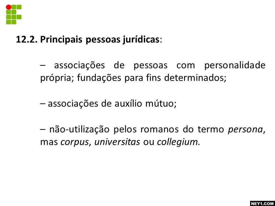 12.2. Principais pessoas jurídicas: