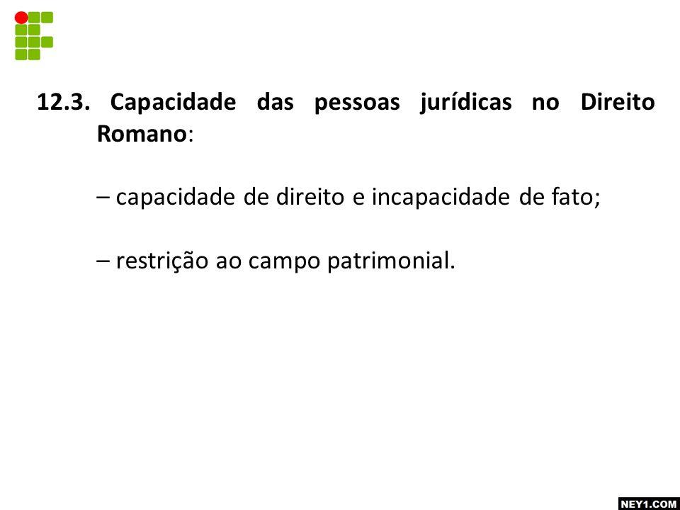 12.3. Capacidade das pessoas jurídicas no Direito Romano: