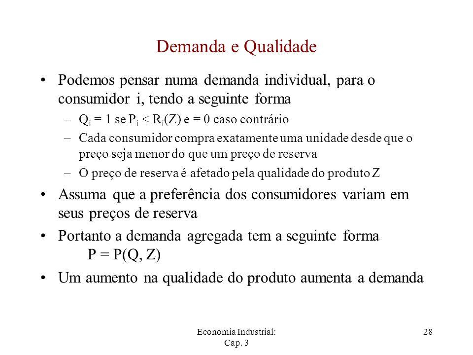 Demanda e Qualidade Podemos pensar numa demanda individual, para o consumidor i, tendo a seguinte forma.