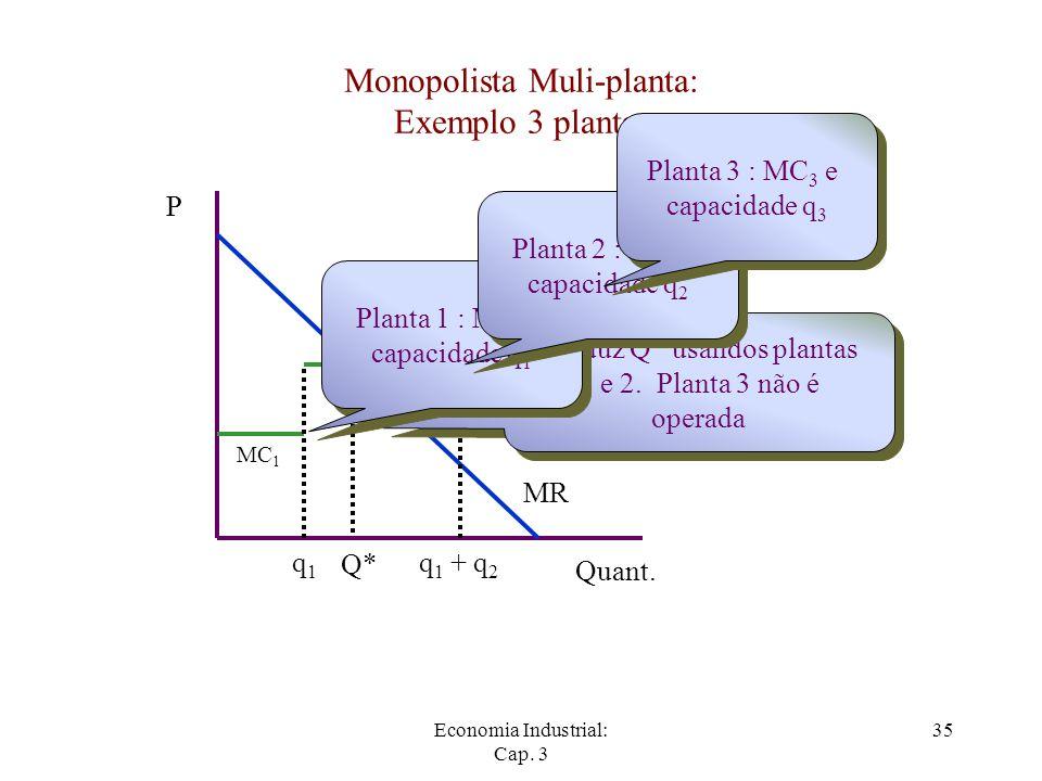 Monopolista Muli-planta: Exemplo 3 plantas