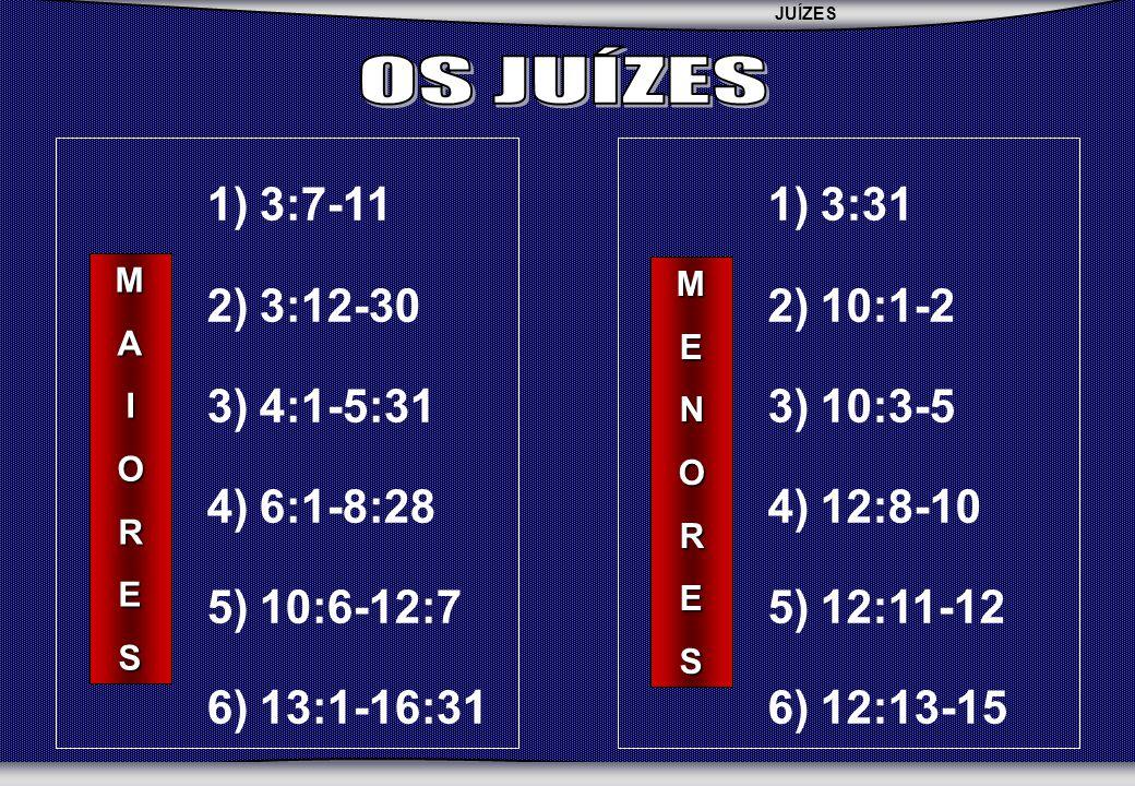 OS JUÍZES 3:7-11 3:12-30 4:1-5:31 6:1-8:28 10:6-12:7 13:1-16:31 3:31