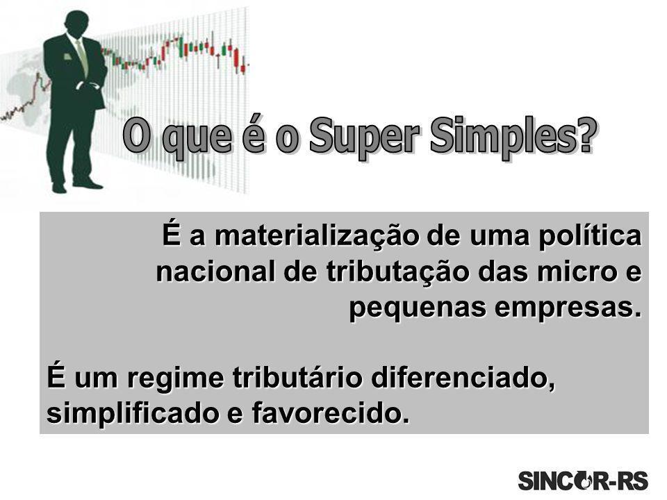 O que é o Super Simples É a materialização de uma política nacional de tributação das micro e pequenas empresas.
