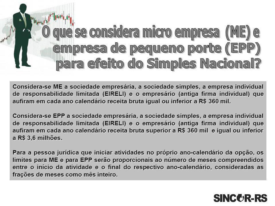 O que se considera micro empresa (ME) e empresa de pequeno porte (EPP)