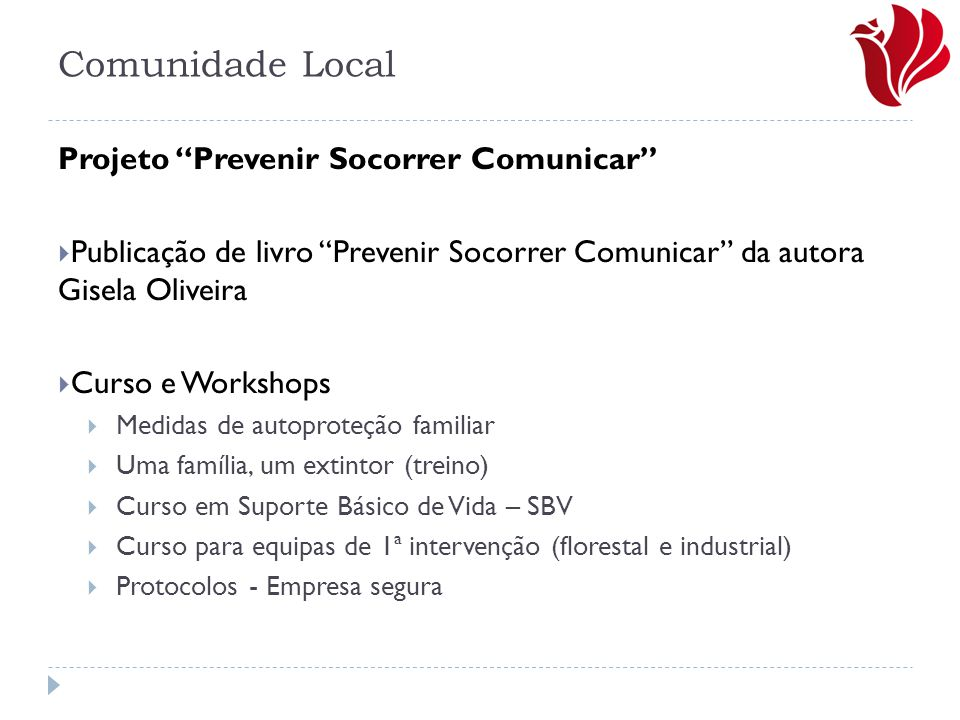 Comunidade Local Projeto Prevenir Socorrer Comunicar