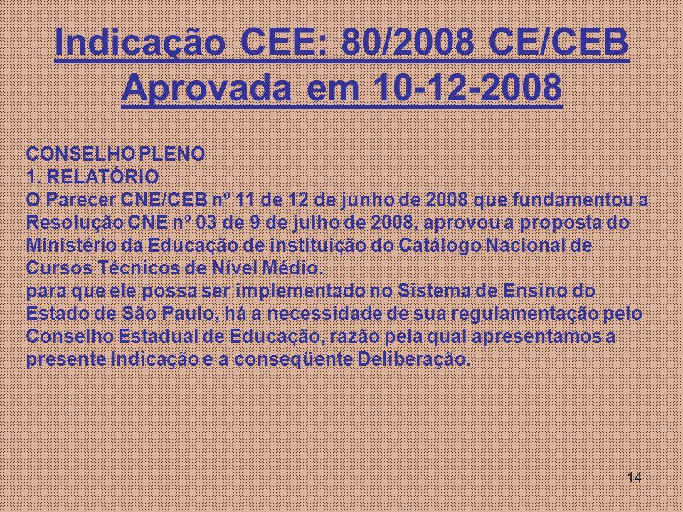 Indicação CEE: 80/2008 CE/CEB Aprovada em 10-12-2008