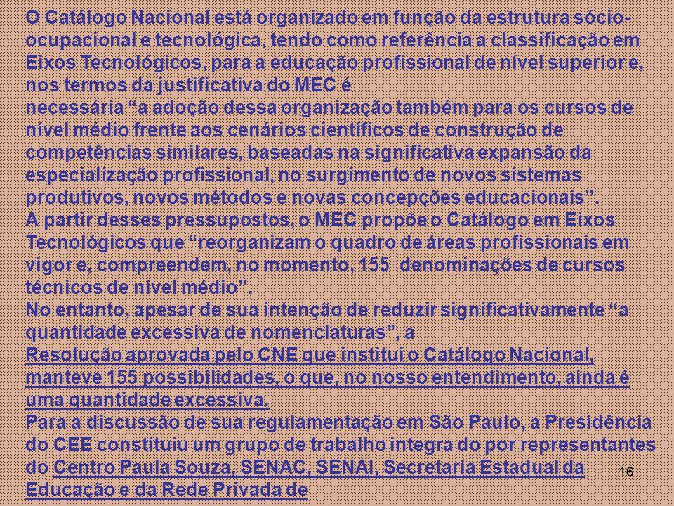 O Catálogo Nacional está organizado em função da estrutura sócio-ocupacional e tecnológica, tendo como referência a classificação em Eixos Tecnológicos, para a educação profissional de nível superior e, nos termos da justificativa do MEC é