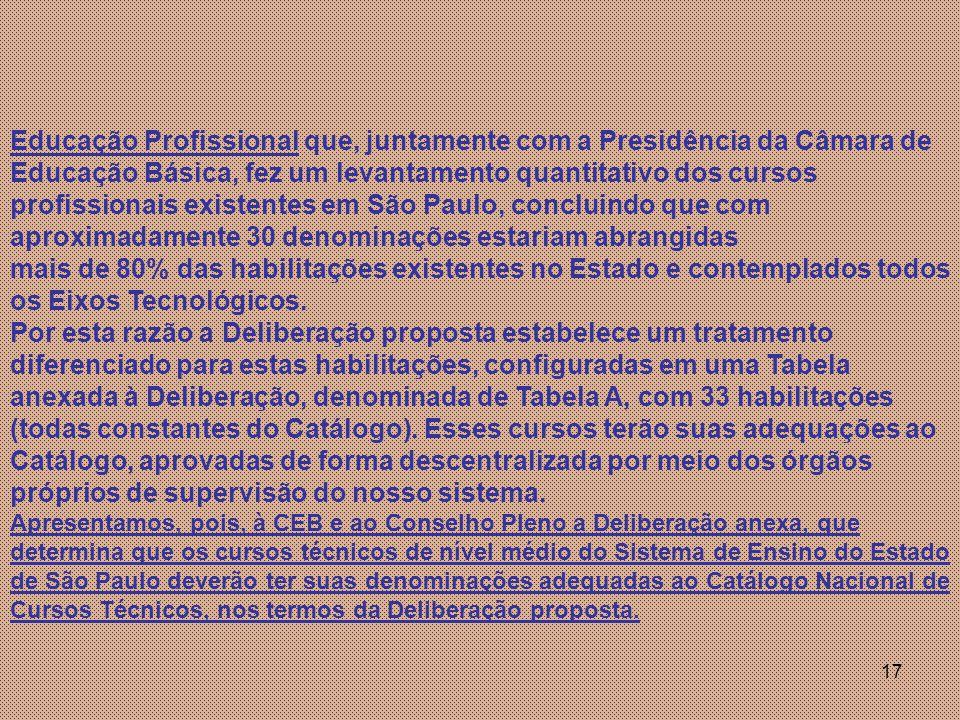 Educação Profissional que, juntamente com a Presidência da Câmara de Educação Básica, fez um levantamento quantitativo dos cursos profissionais existentes em São Paulo, concluindo que com aproximadamente 30 denominações estariam abrangidas