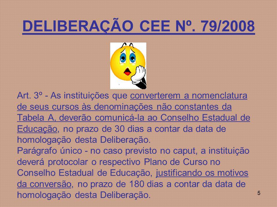 DELIBERAÇÃO CEE Nº. 79/2008 Art. 3º - As instituições que converterem a nomenclatura. de seus cursos às denominações não constantes da.