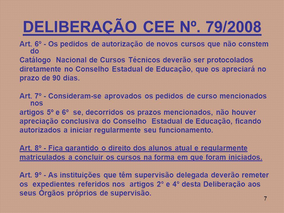 DELIBERAÇÃO CEE Nº. 79/2008 Art. 6º - Os pedidos de autorização de novos cursos que não constem do.