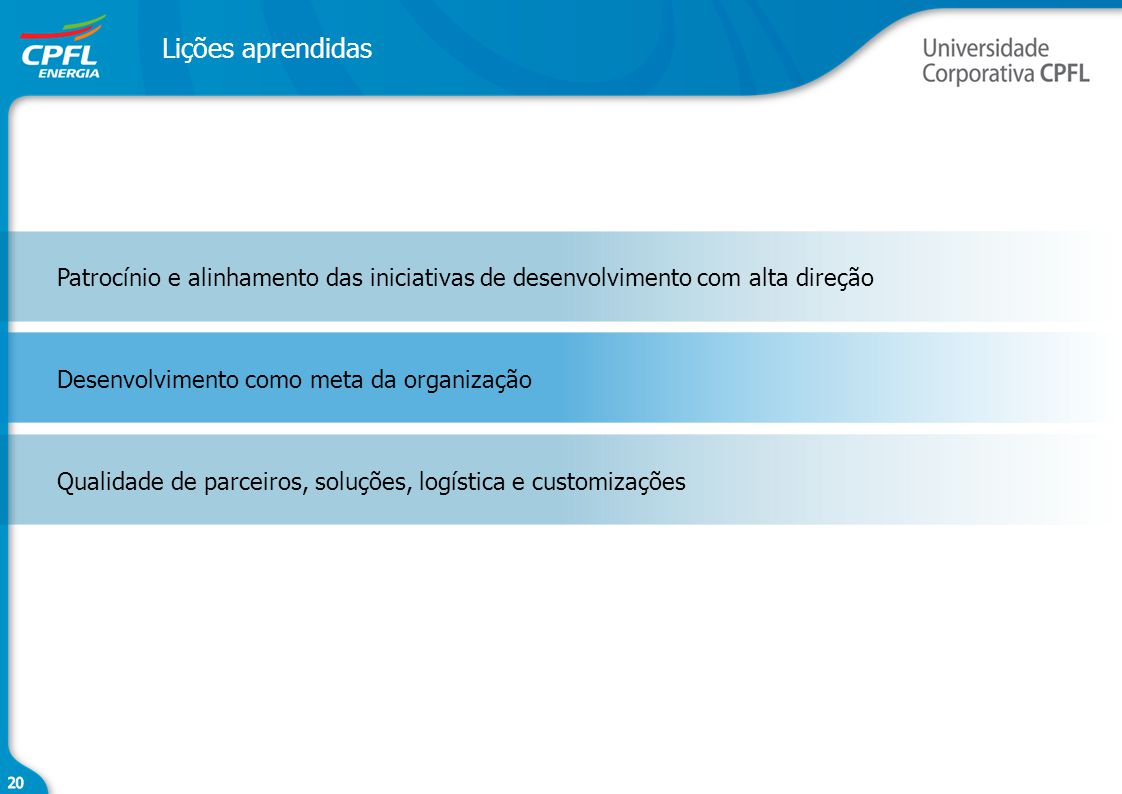 Lições aprendidas Patrocínio e alinhamento das iniciativas de desenvolvimento com alta direção. Desenvolvimento como meta da organização.