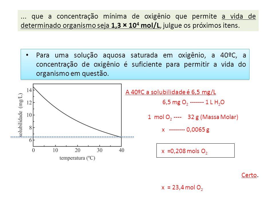 ... que a concentração mínima de oxigênio que permite a vida de determinado organismo seja 1,3 × 104 mol/L, julgue os próximos itens.