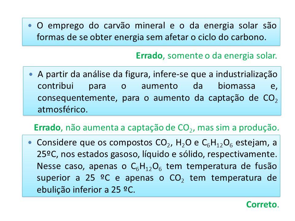 O emprego do carvão mineral e o da energia solar são formas de se obter energia sem afetar o ciclo do carbono.