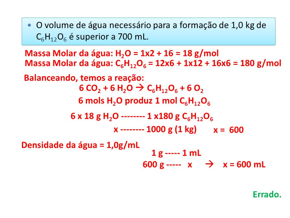 O volume de água necessário para a formação de 1,0 kg de C6H12O6 é superior a 700 mL.