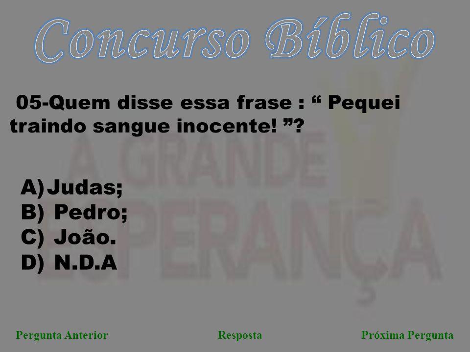 Concurso Bíblico Judas; Pedro; João. N.D.A