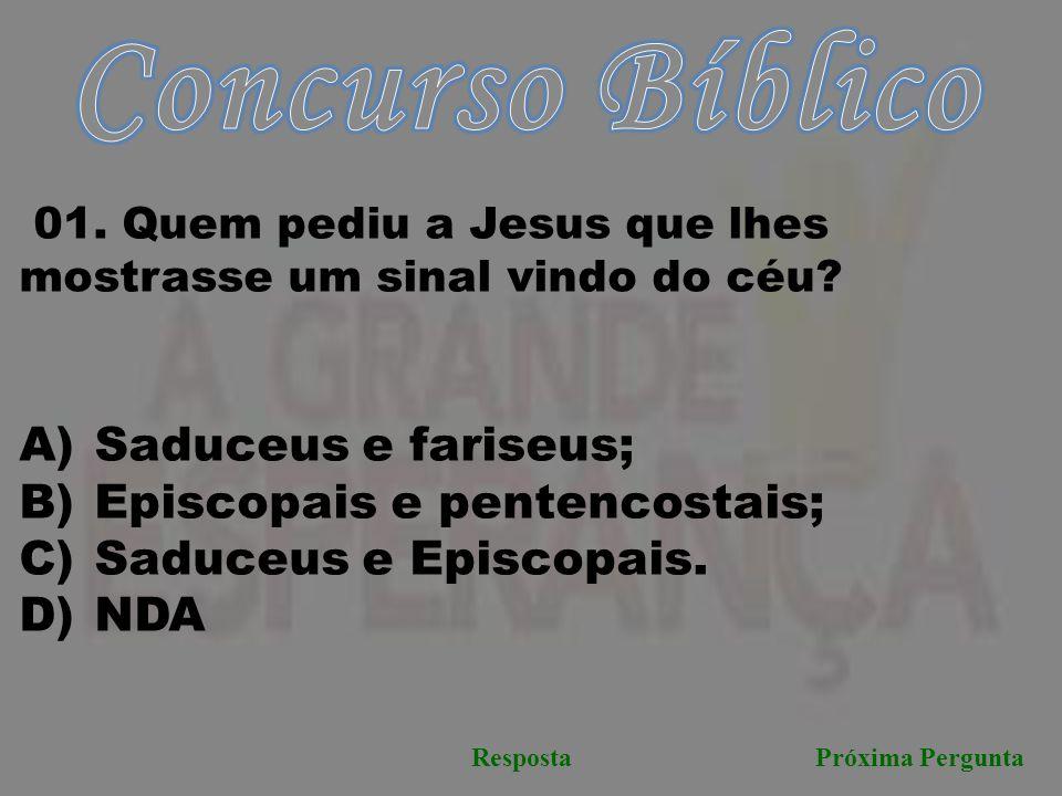 Concurso Bíblico Saduceus e fariseus; Episcopais e pentencostais;