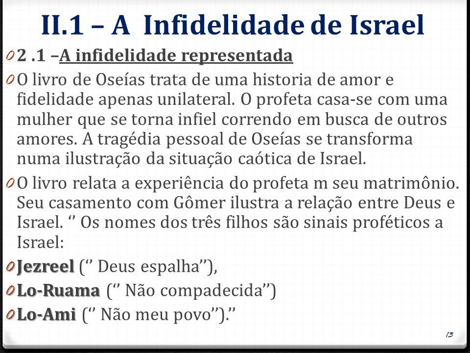 II.1 – A Infidelidade de Israel