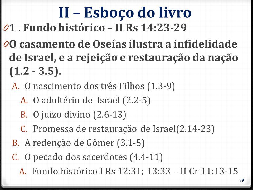 II – Esboço do livro 1 . Fundo histórico – II Rs 14:23-29