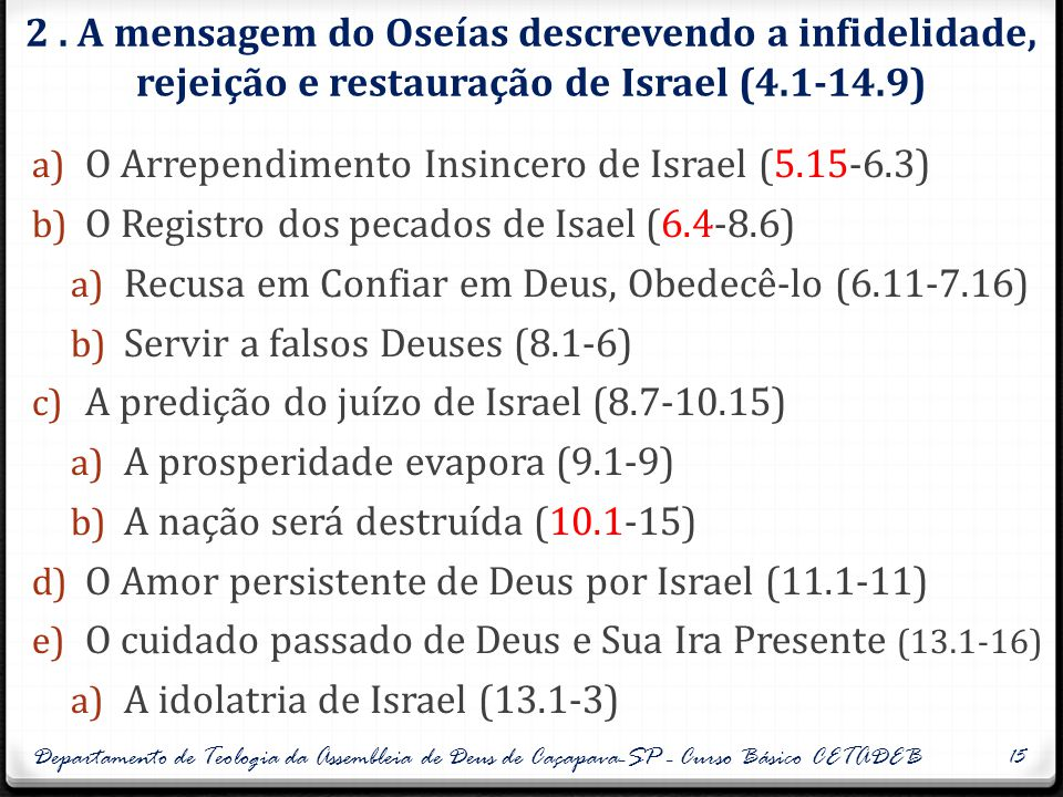 O Arrependimento Insincero de Israel (5.15-6.3)