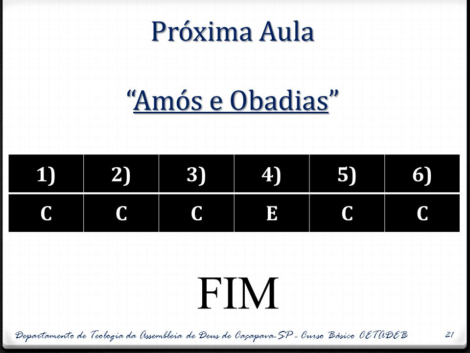 Próxima Aula Amós e Obadias