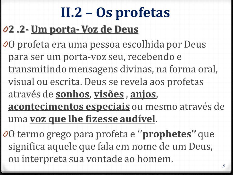 II.2 – Os profetas 2 .2- Um porta- Voz de Deus