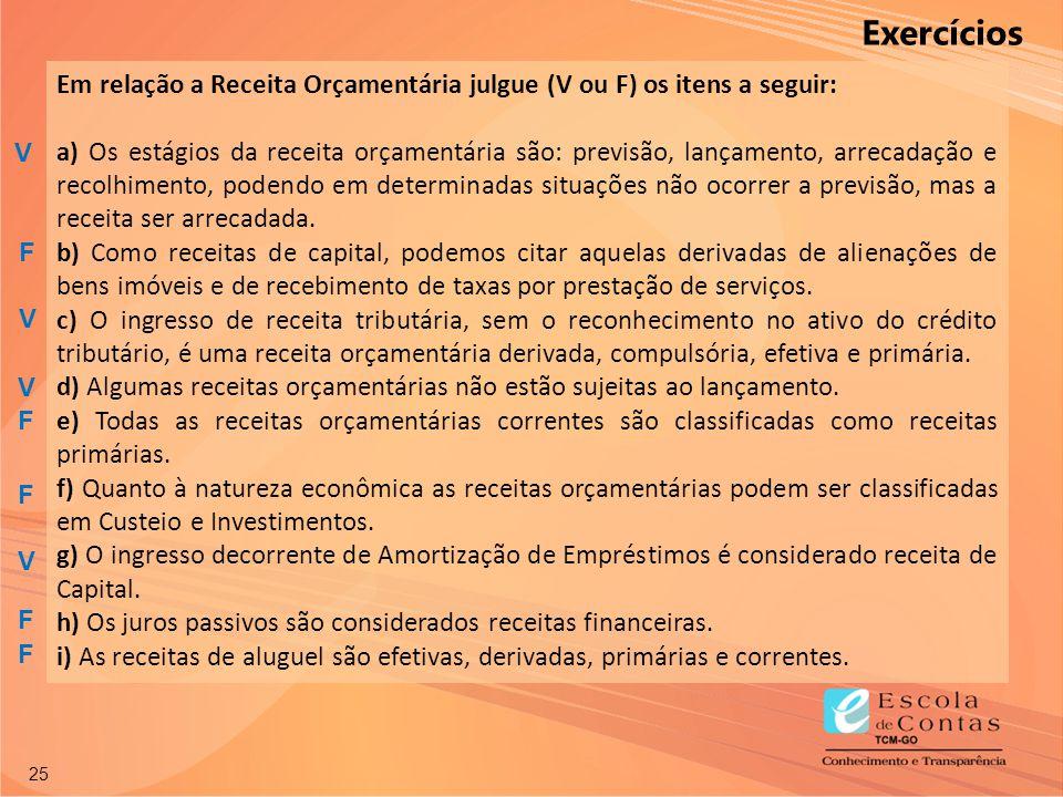 Exercícios Em relação a Receita Orçamentária julgue (V ou F) os itens a seguir: