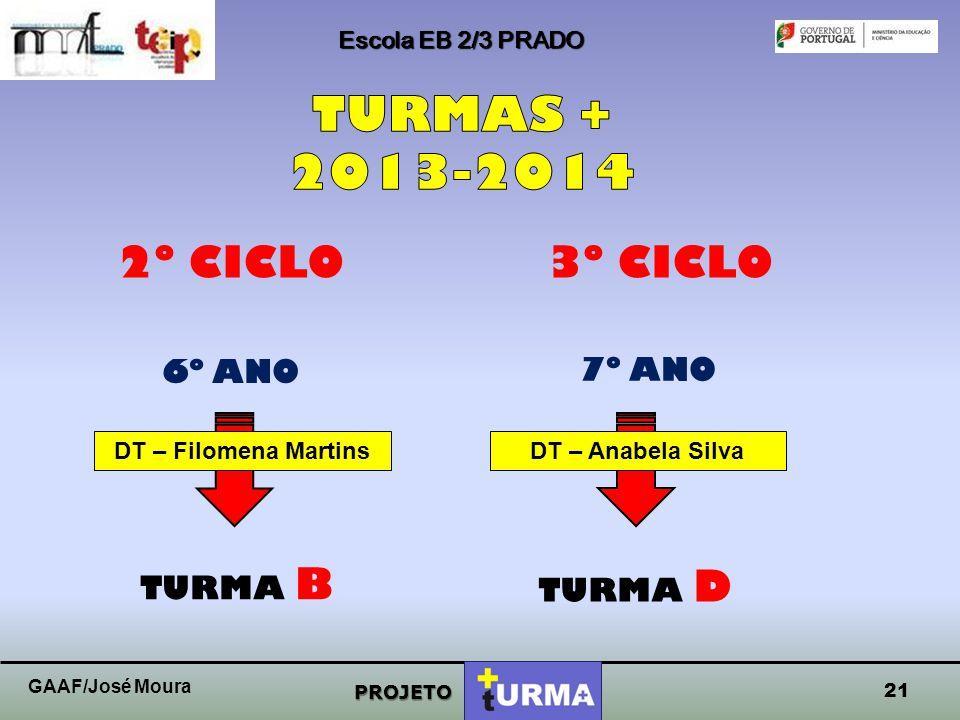 TURMAS + 2013-2014 2º CICLO 3º CICLO 6º ANO 7º ANO TURMA B TURMA D