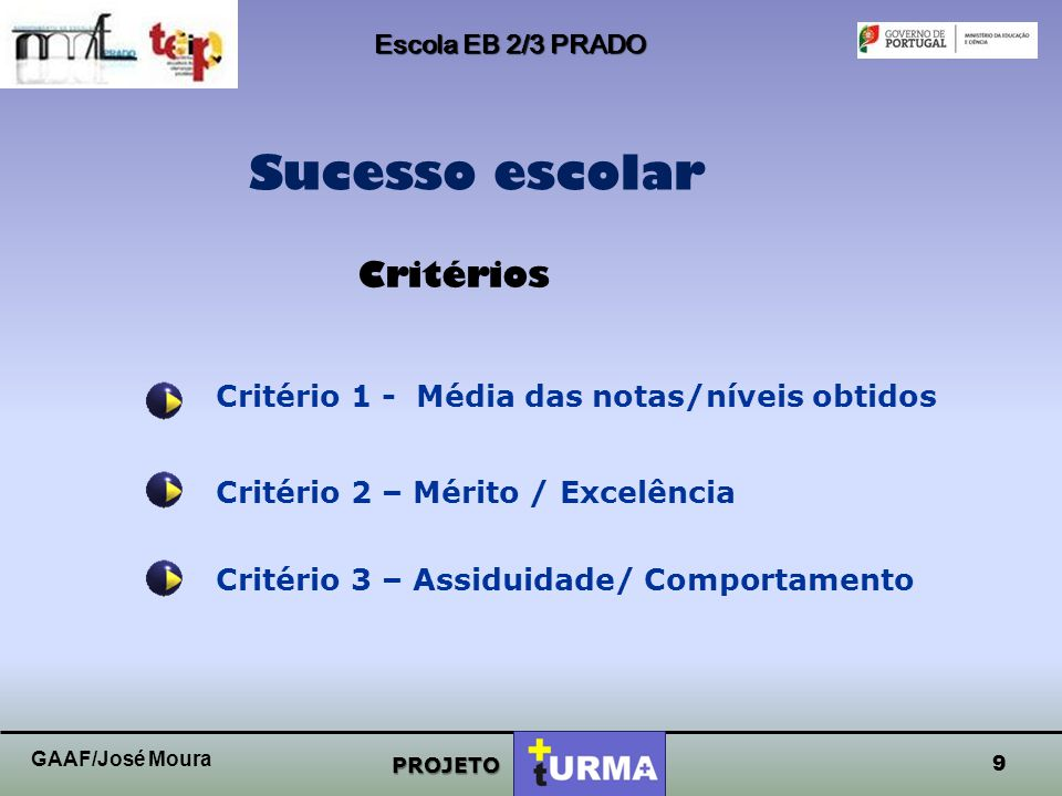 Sucesso escolar Critérios Critério 1 - Média das notas/níveis obtidos
