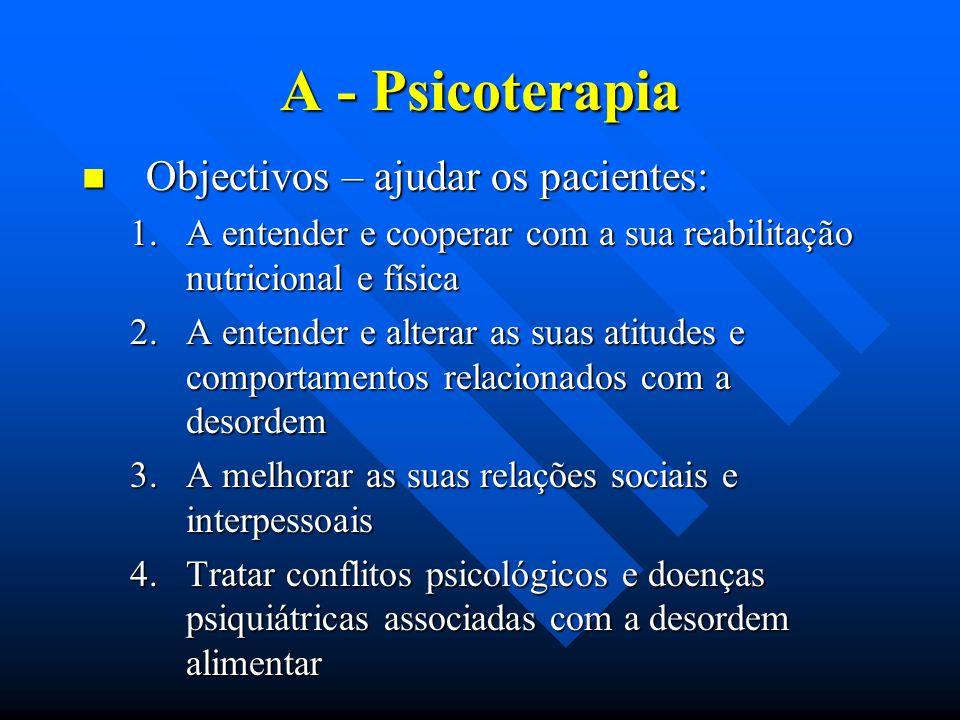 A - Psicoterapia Objectivos – ajudar os pacientes: