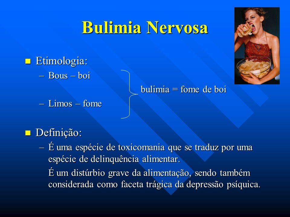 Bulimia Nervosa Etimologia: Definição: Bous – boi
