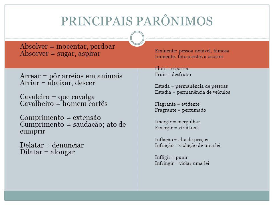 PRINCIPAIS PARÔNIMOS