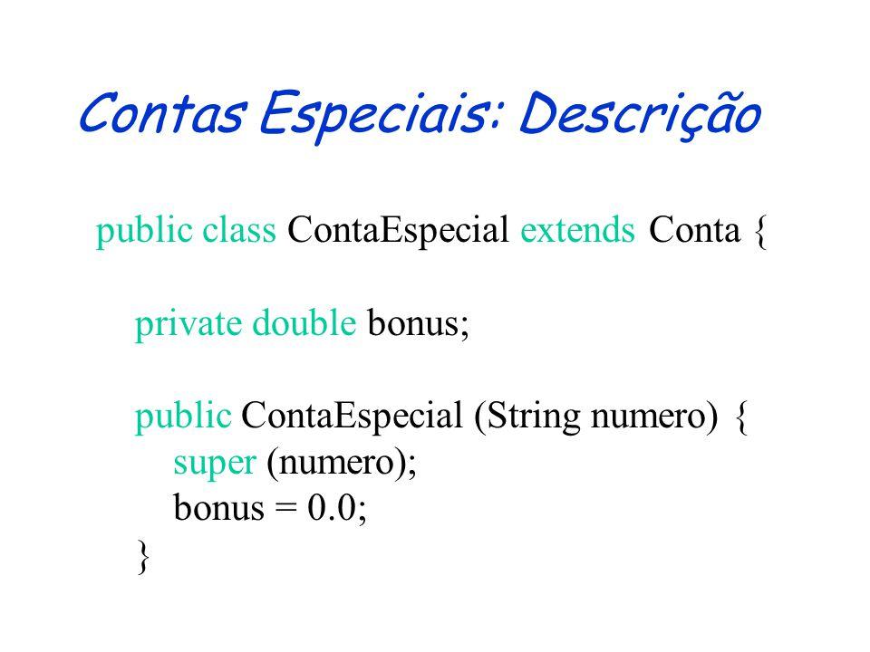 Contas Especiais: Descrição