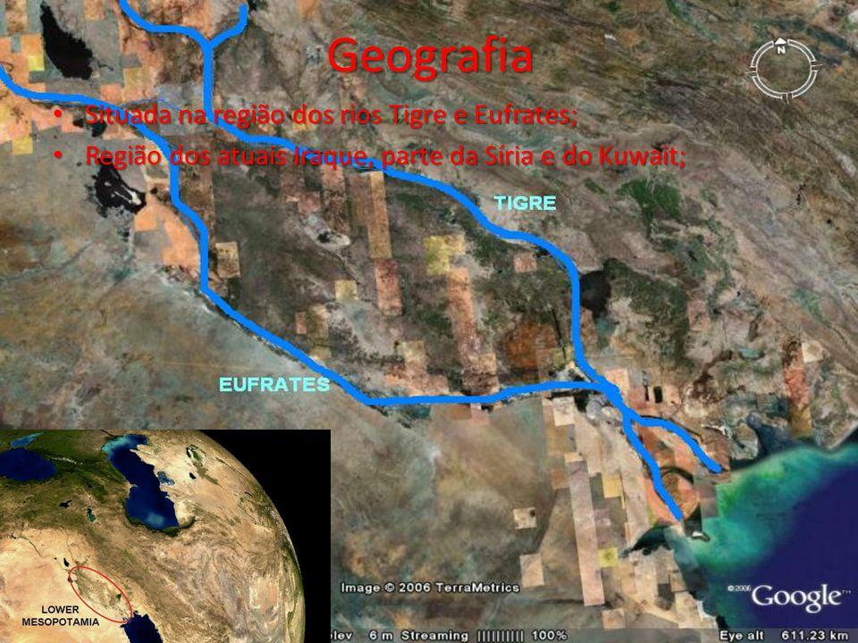 Geografia Situada na região dos rios Tigre e Eufrates;