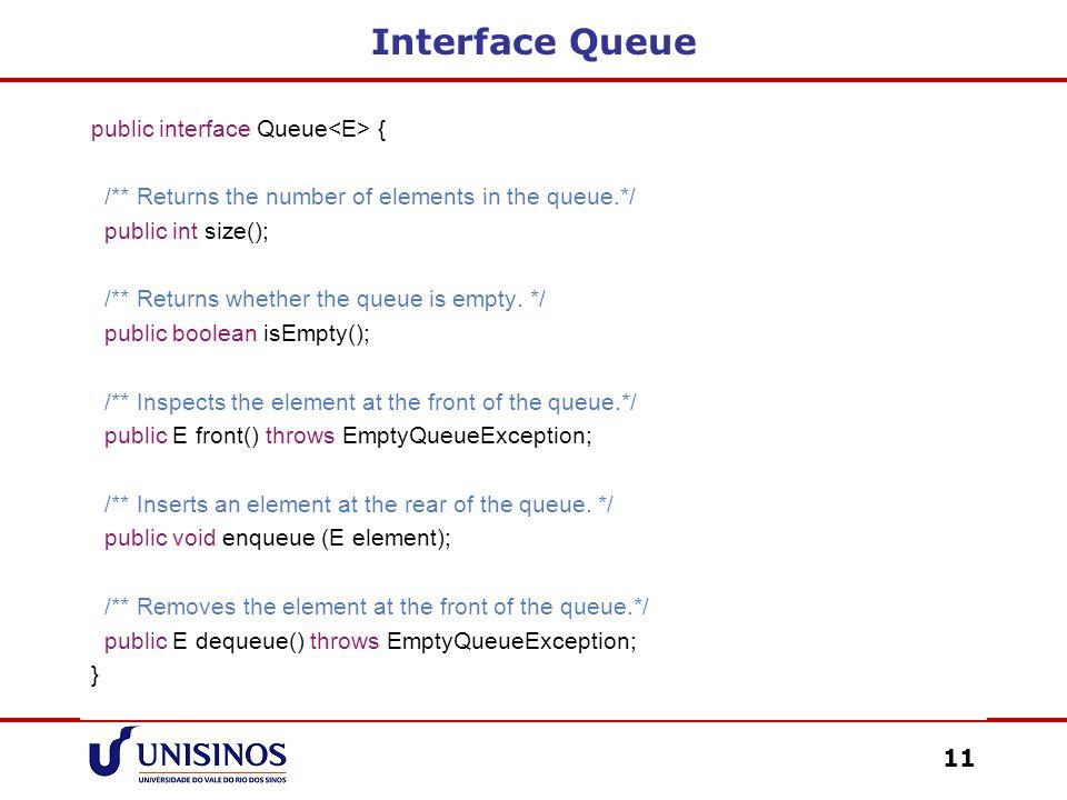 Interface Queue public interface Queue<E> {