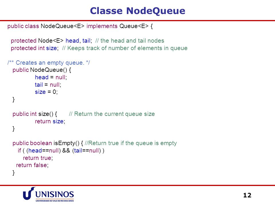 Classe NodeQueue public class NodeQueue<E> implements Queue<E> { protected Node<E> head, tail; // the head and tail nodes.