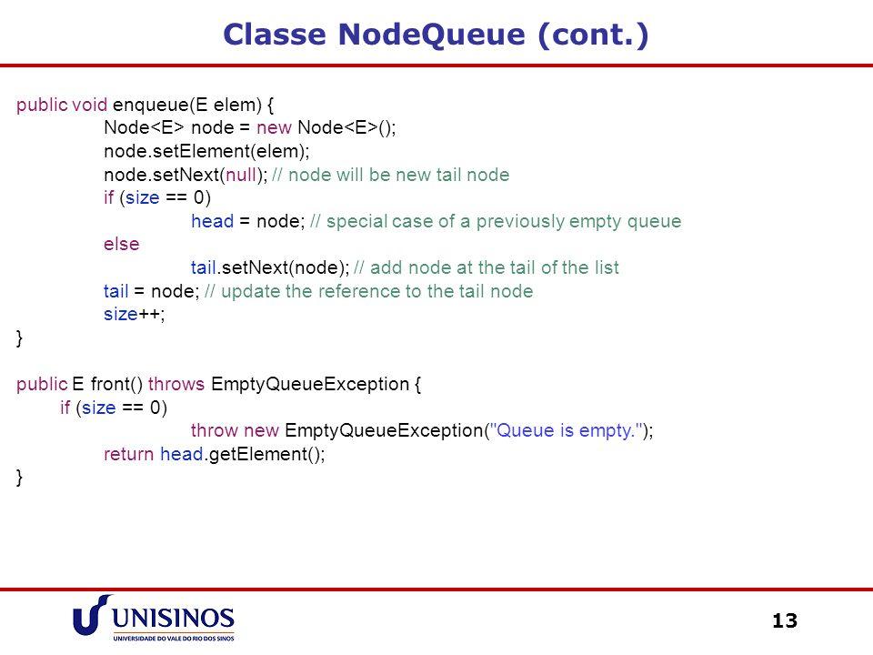 Classe NodeQueue (cont.)
