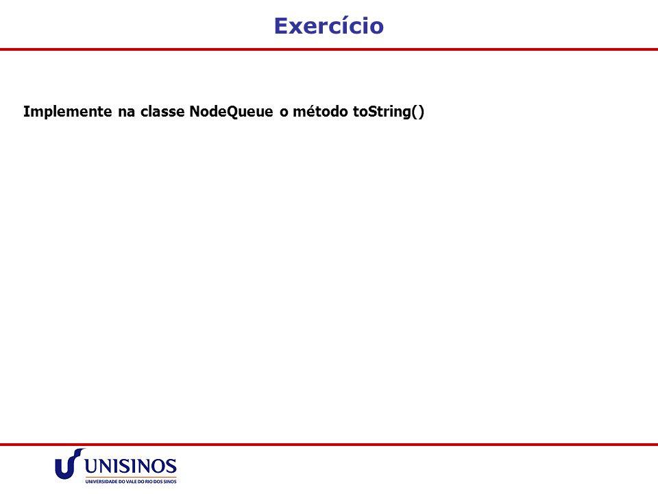 Exercício Implemente na classe NodeQueue o método toString()