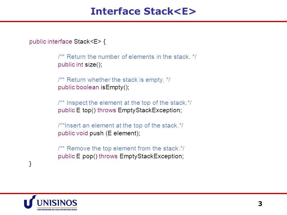 Interface Stack<E>