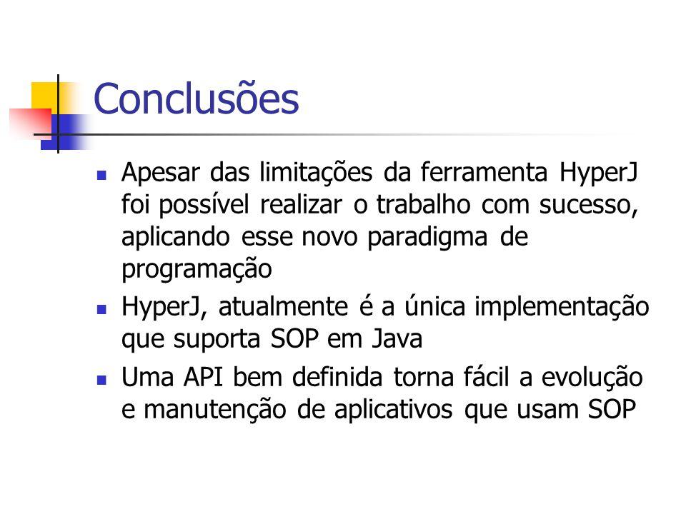 Conclusões Apesar das limitações da ferramenta HyperJ foi possível realizar o trabalho com sucesso, aplicando esse novo paradigma de programação.